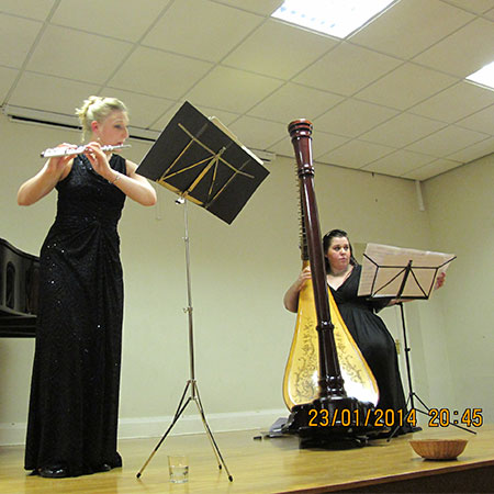 Holly Cook and Tamara Young - Syrinx - Flute and Harp Duo – Sprotbrough Music Society, January 2014, Photo by Joseph Lloyd
