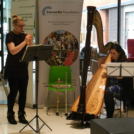 Holly Cook and Tamara Young – Syrinx Flute and Harp Duo – University College London Hospital, Concordia Foundation, February 2015 (Whistle and harp)