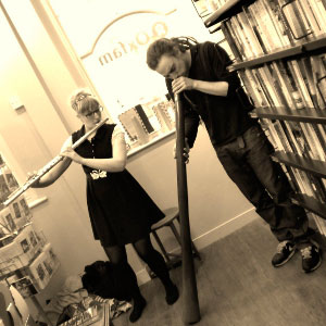 Holly Cook and Nicholas Bouttevin, alto flute and digeredoo improvisation, Greenwich Oxfam Bookshop, March 2013