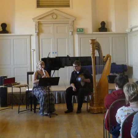 Holly Cook and Kieron Leonard, whistle and bodhran, Presentation at Trinity Laban for Junior Fellowship, September 2011
